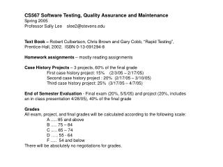 CS567 Software Testing, Quality Assurance and Maintenance Spring 2005 Professor Sally Lee    slee2@stevens.edu
