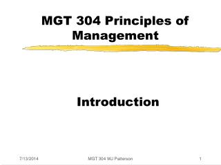 MGT 304 Principles of Management