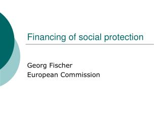 Financing of social protection