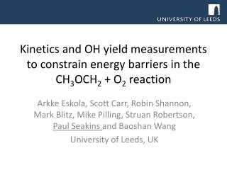Kinetics and OH yield measurements to constrain energy barriers in the CH 3 OCH 2  + O 2  reaction