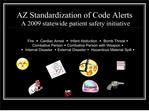 AZ Standardization of Code Alerts  A 2009 statewide patient safety initiative