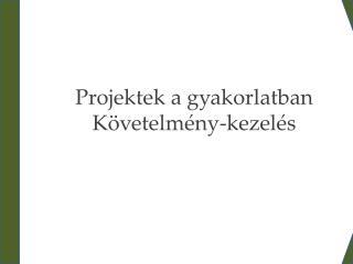 Projektek a gyakorlatban Követelmény-kezelés