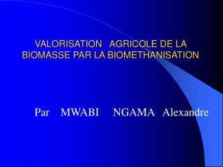 VALORISATION   AGRICOLE DE LA BIOMASSE PAR LA BIOMETHANISATION