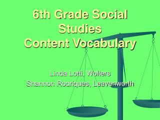 6th Grade Social Studies Content Vocabulary