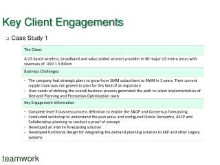 Key Client Engagements