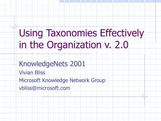 Using Taxonomies Effectively in the Organization v. 2.0