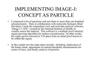 IMPLEMENTING IMAGE-J: CONCEPT AS PARTICLE