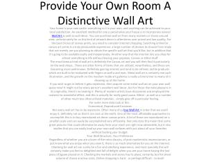 Provide Your Own Room A Distinctive Wall Art