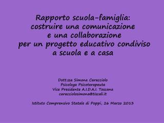 Rapporto scuola-famiglia: costruire una comunicazione   e una collaborazione  per un progetto educativo condiviso  a sc