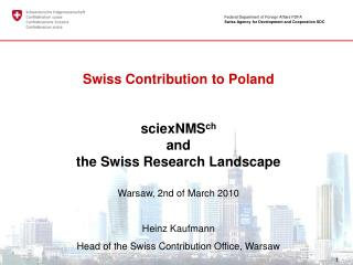 Federal Department of Foreign Affairs FDFA Swiss Agency for Development and Cooperation SDC