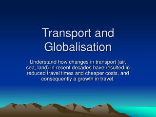 Transport and Globalisation