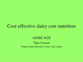 Cost effective dairy cow nutrition