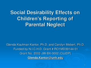 Social Desirability Effects on Children's Reporting of Parental Neglect