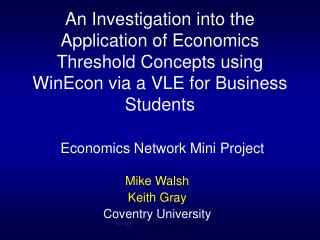 Mike Walsh Keith Gray Coventry University ref: DEE  winthresh3   sept 07  ver4   U/L/D