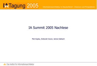 IA Summit 2005 Nachlese