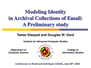 Modeling Identity  in Archival Collections of Email:  A Preliminary study