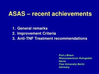 ASAS – recent achievements