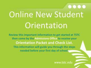 Online New Student  Orientation