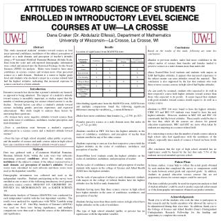 ATTITUDES TOWARD SCIENCE OF STUDENTS             ENROLLED IN INTRODUCTORY LEVEL SCIENCE COURSES AT UW�LA CROSSE