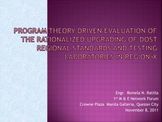 Program theory driven evaluation of The rationalized upgrading of dost regional standards and testing laboratories in R