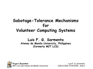 Sabotage-Tolerance Mechanisms  for  Volunteer Computing Systems