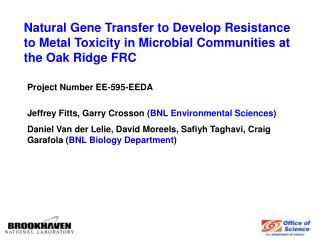 Natural Gene Transfer to Develop Resistance to Metal Toxicity in Microbial Communities at the Oak Ridge FRC