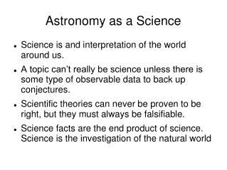 Astronomy as a Science