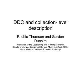 DDC and collection-level description