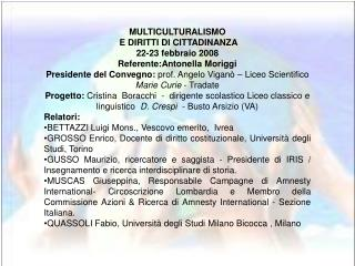 MULTICULTURALISMO  E DIRITTI DI CITTADINANZA 22-23 febbraio 2008 Referente:Antonella Moriggi