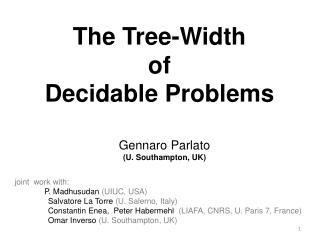 The Tree-Width  of  Decidable Problems