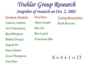 Truhlar Group Research Snapshot of research on Oct. 2, 2003