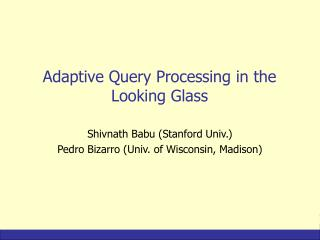Adaptive Query Processing in the Looking Glass