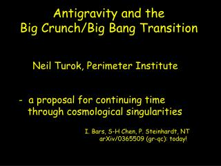 Antigravity and the  Big Crunch/Big Bang Transition