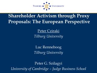 Shareholder Activism through Proxy Proposals: The European Perspective