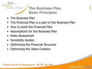 The Business Plan Basic Principles