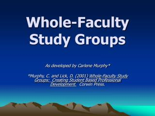 Whole-Faculty Study Groups