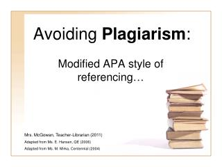 Avoiding Plagiarism: