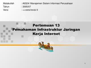 Pertemuan 13 Pemahaman Infrastruktur Jaringan Kerja Internet
