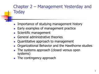 Chapter 2 – Management Yesterday and Today