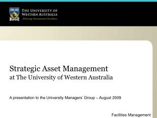Strategic Asset Management at The University of Western Australia