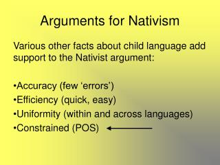 Arguments for Nativism