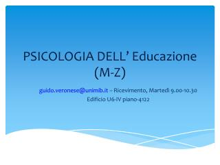 PSICOLOGIA DELL' Educazione (M-Z)