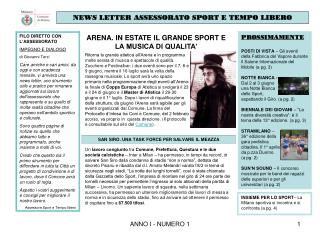 NEWS LETTER ASSESSORATO SPORT E TEMPO LIBERO