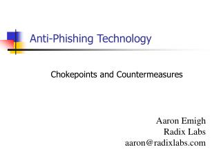 Anti-Phishing Technology