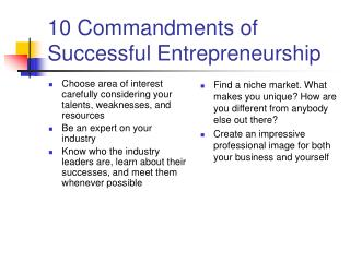 10 Commandments of Successful Entrepreneurship