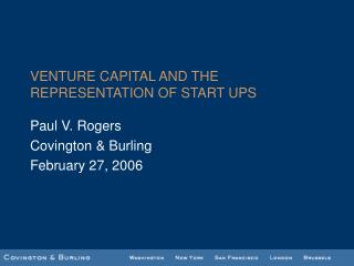 VENTURE CAPITAL AND THE REPRESENTATION OF START UPS