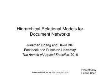 Hierarchical Relational Models for Document Networks