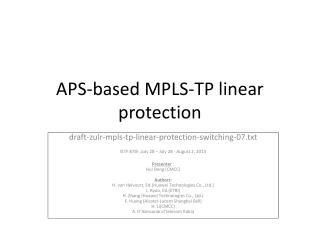 APS-based MPLS-TP linear protection