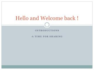 Hello and Welcome back !