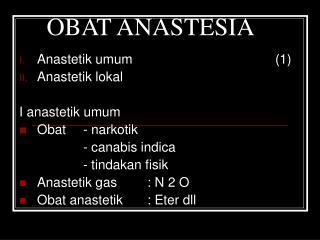 OBAT ANASTESIA